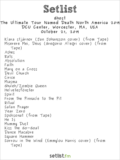 Ghost Setlist DCU Center, Worcester, MA, USA 2019, The Ultimate Tour Named Death