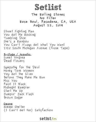 The Rolling Stones Setlist Rose Bowl, Pasadena, CA, USA 2019, No Filter