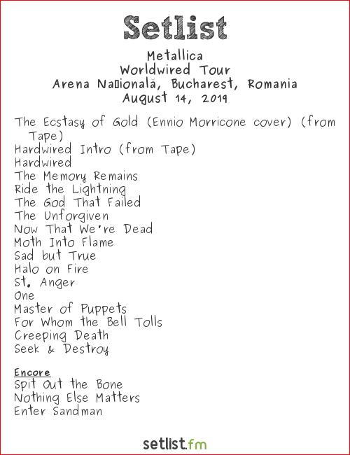 Metallica Setlist National Arena, Bucharest, Romania 2019, Worldwired Tour