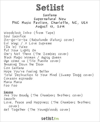 Santana Setlist PNC Music Pavilion, Charlotte, NC, USA 2019, Supernatural Now