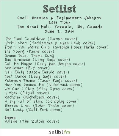 Scott Bradlee & Postmodern Jukebox Setlist Great Hall, Toronto, ON, Canada 2014