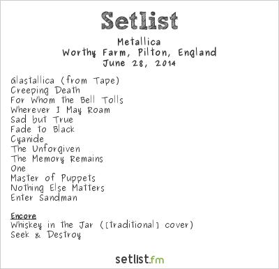 Metallica Setlist Glastonbury Festival 2014 2014