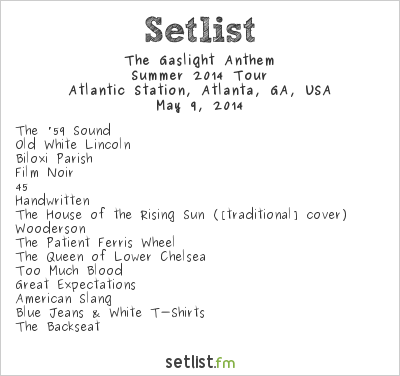 The Gaslight Anthem at Shaky Knees Music Festival 2014 Setlist