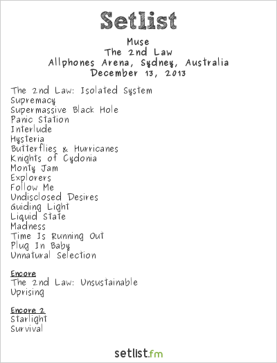 Muse Setlist Allphones Arena, Sydney, Australia 2013, The 2nd Law