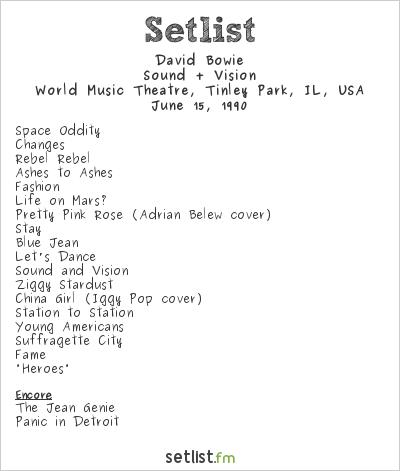 David Bowie Setlist World Music Theatre, Tinley Park, IL, USA 1990, Sound + Vision Tour