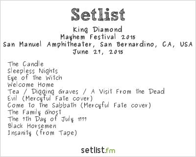 King Diamond Setlist San Manuel Amphitheater, San Bernardino, CA, USA, Mayhem Festival 2015