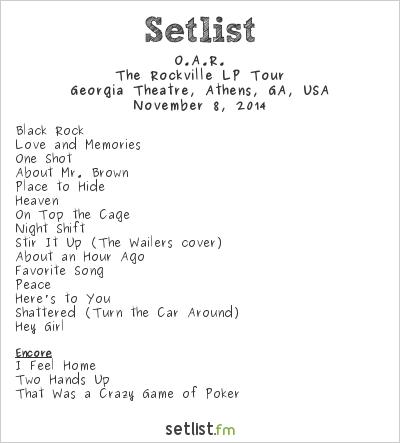 Oar Rockville Tour Setlist