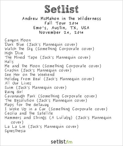 Andrew Mcmahon Tour Setlist
