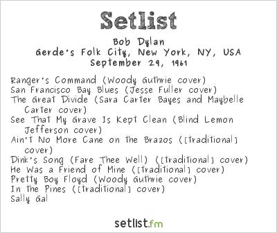 Bob Dylan Setlist Gerde's Folk City, New York, NY, USA 1961