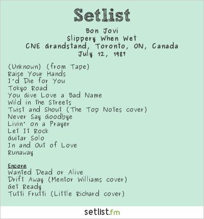 Bon Jovi Setlist CNE Grandstand, Toronto, ON, Canada 1987, Slippery When Wet