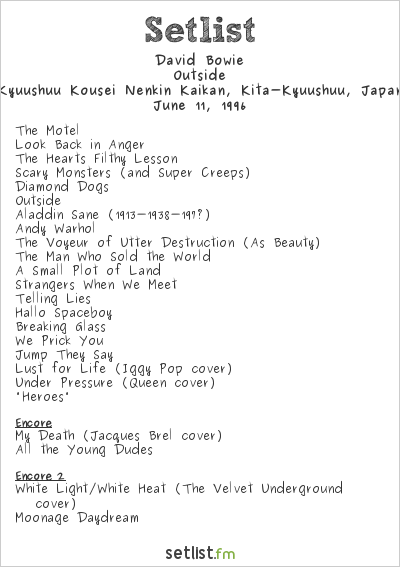 David Bowie Setlist Kyusyu Koseinenkin Hall, Kokura, Japan 1996, Outside