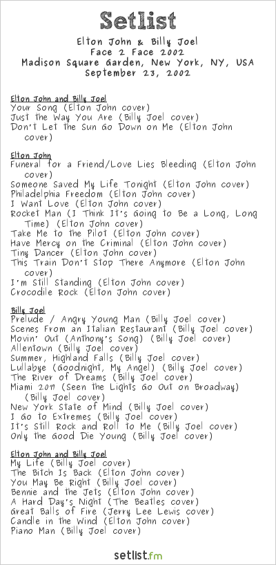 Elton john and billy joel live some thoughts Billy joel madison square garden setlist