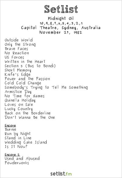 Midnight Oil at Capitol Theatre, Sydney, Australia Setlist