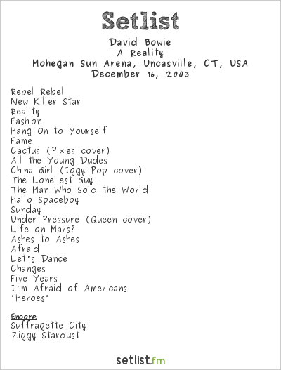 David Bowie Setlist Mohegan Sun Arena, Uncasville, CT, USA 2003, A Reality Tour