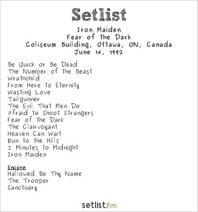 Iron Maiden Setlist Coliseum Building, Ottawa, ON, Canada 1992, Fear Of The Dark