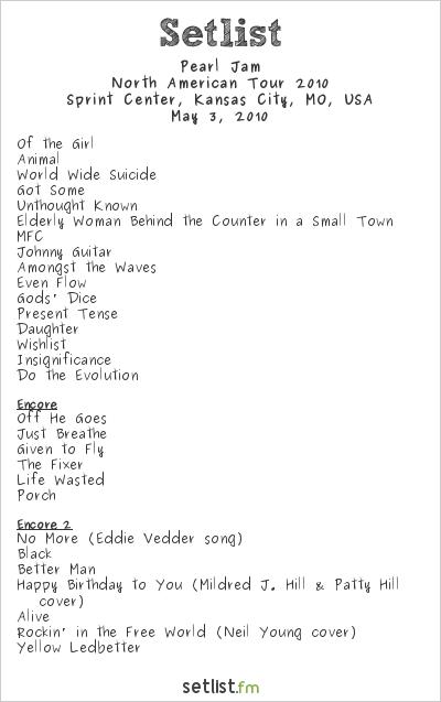 Pearl Jam Setlist Sprint Center, Kansas City, MO, USA, North American Tour 2010