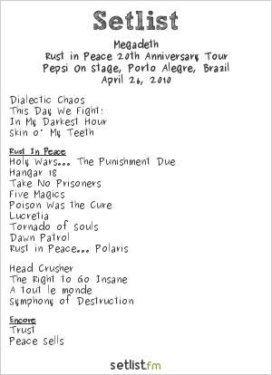 Megadeth Setlist Pepsi On Stage, Porto Alegre, Brazil 2010, Endgame