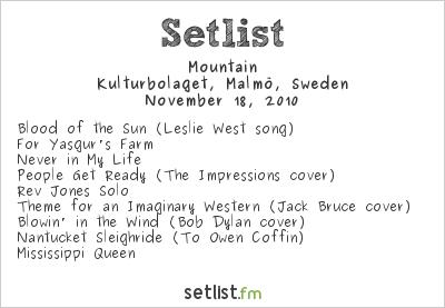 Mountain Setlist Kulturbolaget, Malmö, Sweden 2010