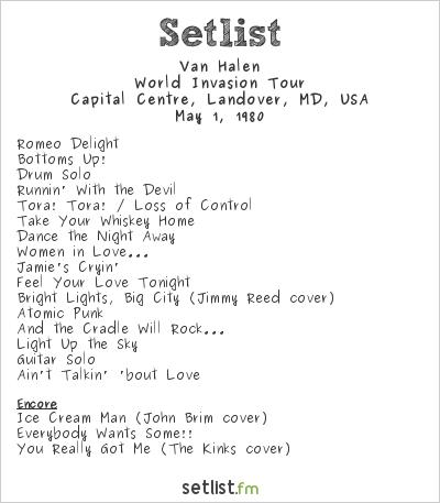 Van Halen Setlist Capital Centre, Landover, MD, USA 1980, World Invasion Tour