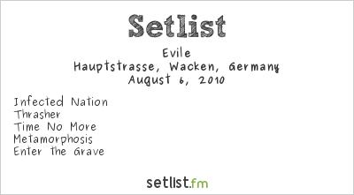 Evile Setlist Wacken Open Air, Wacken, Germany 2010