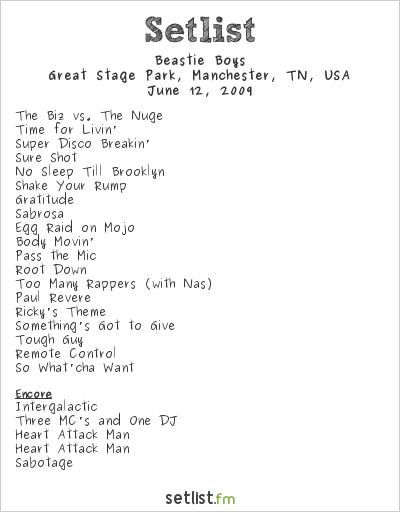 Beastie Boys Setlist Bonnaroo 2009 2009
