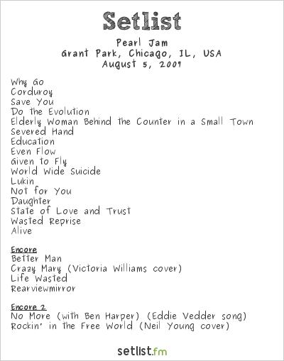 Pearl Jam Setlist Lollapalooza 2007 2007