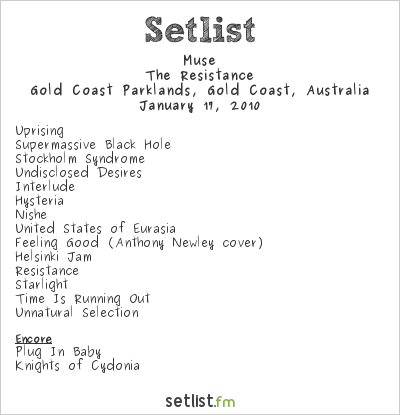Muse Setlist Gold Coast Parklands, Southport, Australia, Big Day Out 2010