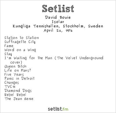 David Bowie Setlist Kungliga Tennishallen, Stockholm, Sweden 1976, Isolar Tour