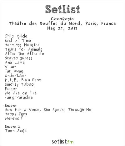 CocoRosie Setlist Théâtre des Bouffes du Nord, Paris, France 2013