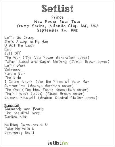 Prince Setlist Trump Marina, Atlantic City, NJ, USA 1998, New Power Soul Tour