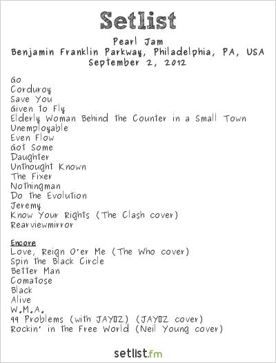 Pearl Jam Setlist Budweiser Made in America 2012 2012