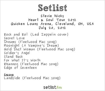 Stevie Nicks at Quicken Loans Arena, Cleveland, OH, USA Setlist