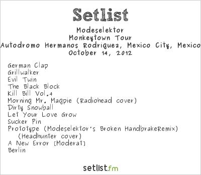 Modeselektor Setlist Corona Capital 2012, Monkeytown Tour 2012