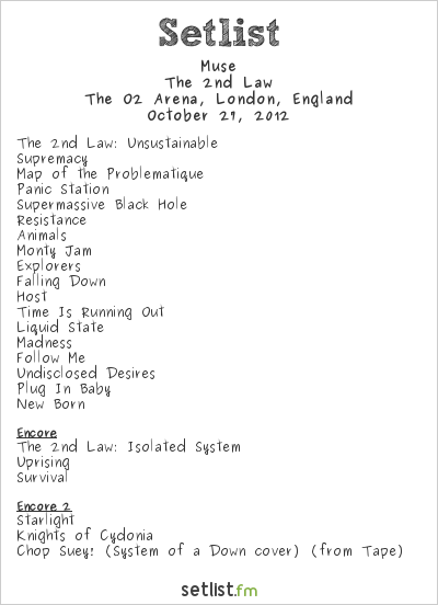 Muse Setlist O2 Arena, London, England 2012, The 2nd Law Tour