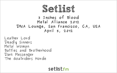 3 Inches of Blood Setlist DNA Lounge, San Francisco, CA, USA, Metal Alliance 2012