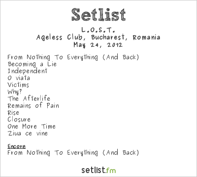 L.O.S.T. Setlist Ageless Club, Bucharest, Romania 2012
