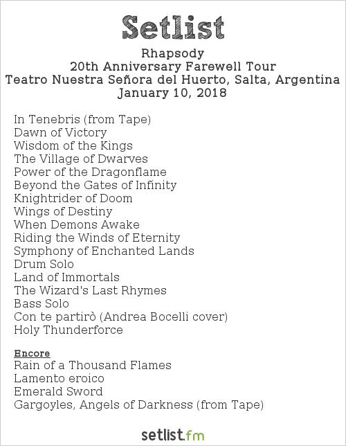 Rhapsody Setlist Teatro Nuestra Señora del Huerto, Salta, Argentina 2018, 20th Anniversary Farewell Tour