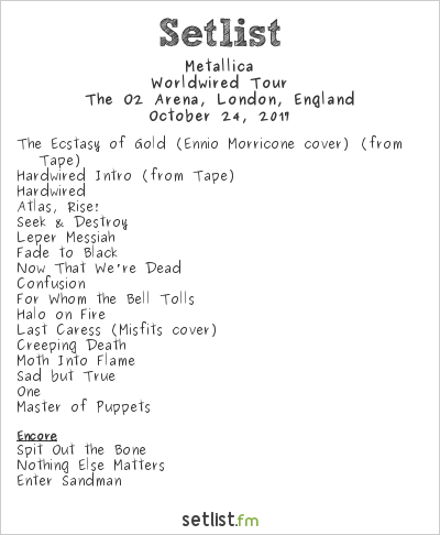 Metallica Setlist The O2 Arena, London, England 2017, WorldWired Tour