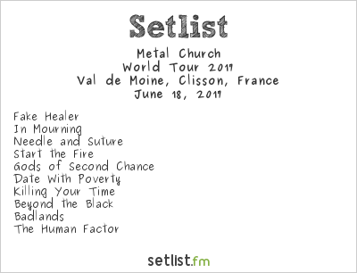 Metal Church Setlist Hellfest 2017, World Tour 2017