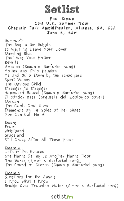 Paul Simon at Chastain Park Amphitheater, Atlanta, GA, USA Setlist