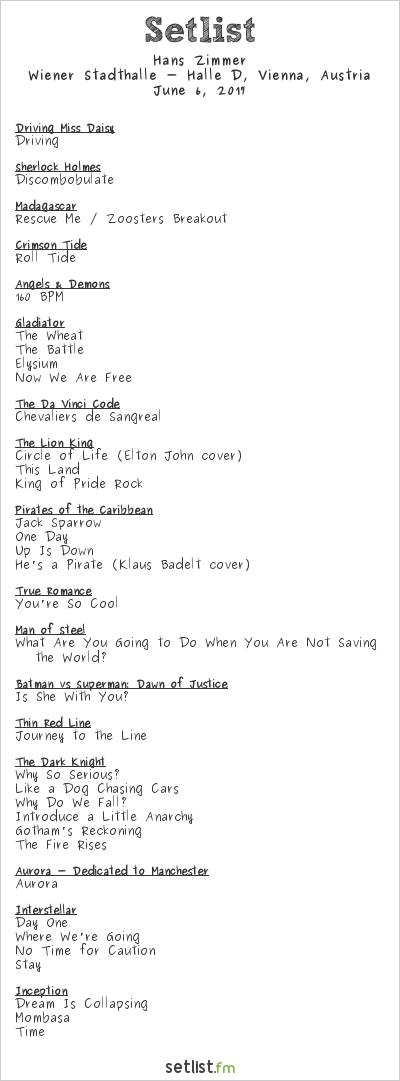 Hans Zimmer Setlist