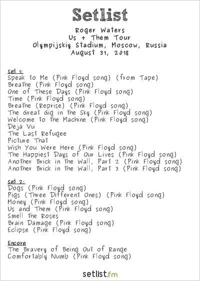Roger Waters Setlist Olympijskiy Stadium, Moscow, Russia 2018, Us + Them Tour