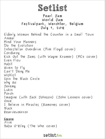 Pearl Jam Setlist Rock Werchter 2018 2018, World Jam