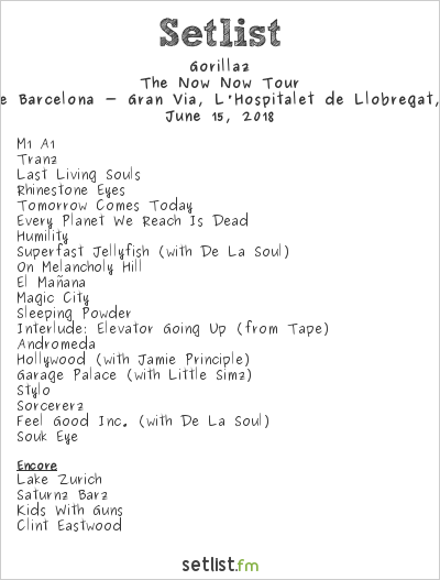 Gorillaz Setlist Sónar 2018 2018, The Now Now Tour