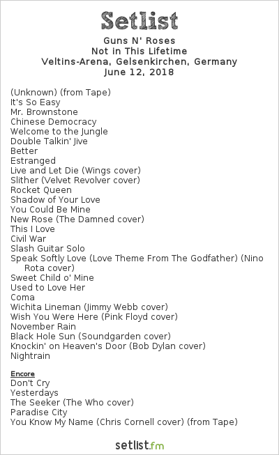 Guns N' Roses Setlist Veltins-Arena, Gelsenkirchen, Germany 2018, Not in this Lifetime
