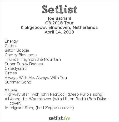 Joe Satriani Setlist Klokgebouw, Eindhoven, Netherlands 2018, G3 2018 Tour