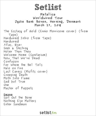 Metallica Setlist Jyske Bank Boxen, Herning, Denmark 2018, Worldwired Tour