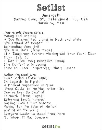 Underoath Setlist Jannus Live, St. Petersburg, FL, USA 2016