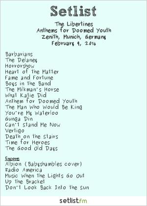 The Libertines Setlist Zenith, Munich, Germany 2016