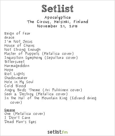 Apocalyptica Setlist The Circus, Helsinki, Finland 2015